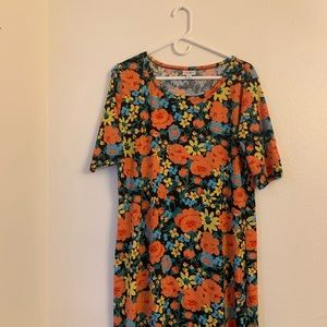 Colorful floral 2XL Lularoe Julia EUC